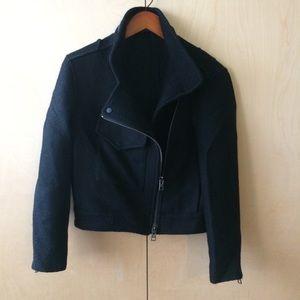 all saints moto coat sz 2 black jacket wool blend